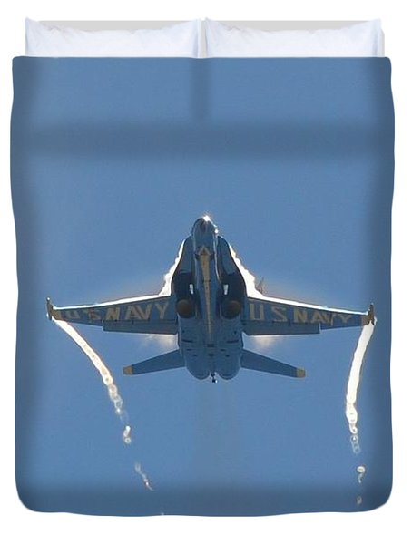 Duvet Cover featuring the photograph Blue Angels Ghost Appears Head-on Over Pensacola Beach by Jeff at JSJ Photography
