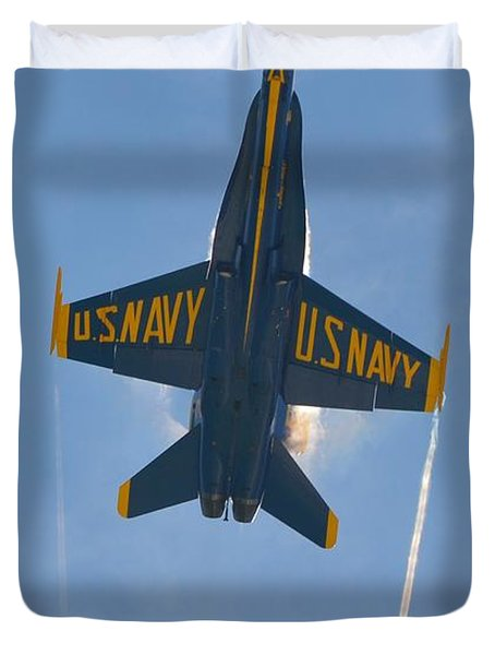 Blue Angels Ghost Appears Over Pensacola Beach Duvet Cover by Jeff at JSJ Photography
