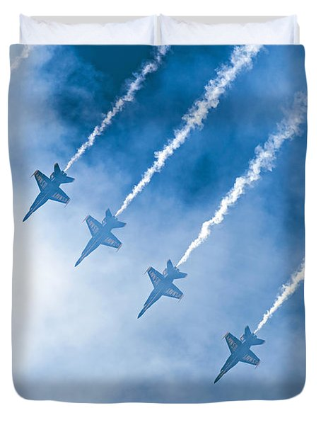 Duvet Cover featuring the photograph Blue Angels by Kate Brown