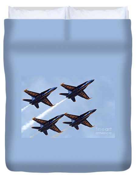 Blue Angels Over Colorado Duvet Cover