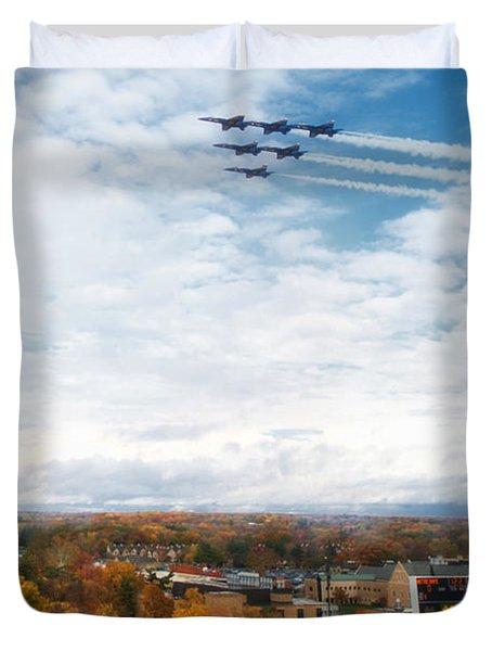 Blue Angels Over Notre Dame Stadium Duvet Cover