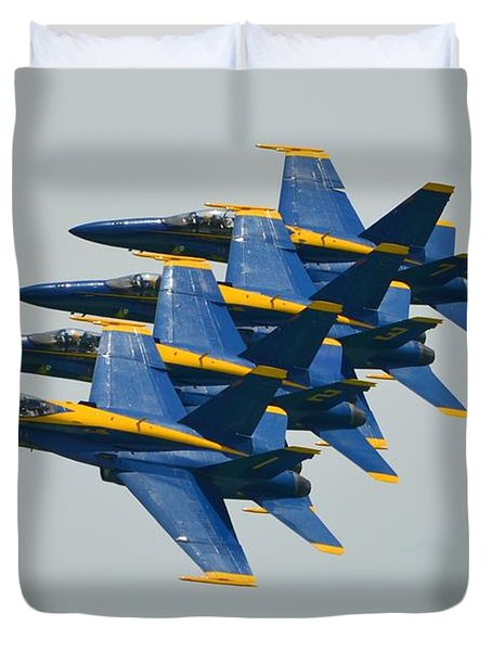 Duvet Cover featuring the photograph Blue Angels Practice Echelon Formation by Jeff at JSJ Photography