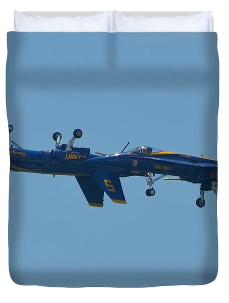Duvet Cover featuring the photograph Blue Angels Practice Up And Down With Low And Slow by Jeff at JSJ Photography