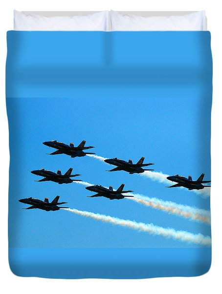 Duvet Cover featuring the photograph Blue Angels The Need For Speed by James Kirkikis