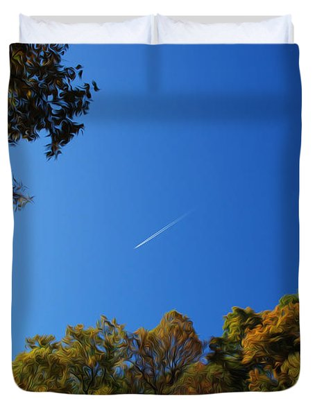 Duvet Cover featuring the photograph Blue Autumn Skies by Kelvin Booker
