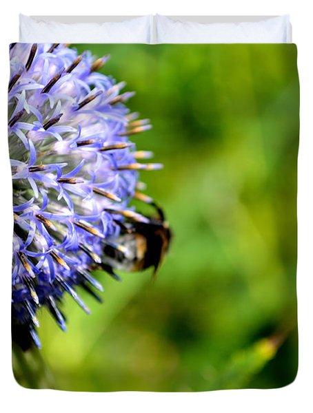 Duvet Cover featuring the photograph Blue Ball Flower by Scott Lyons