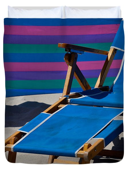 Blue Beach Chair Duvet Cover by Art Block Collections