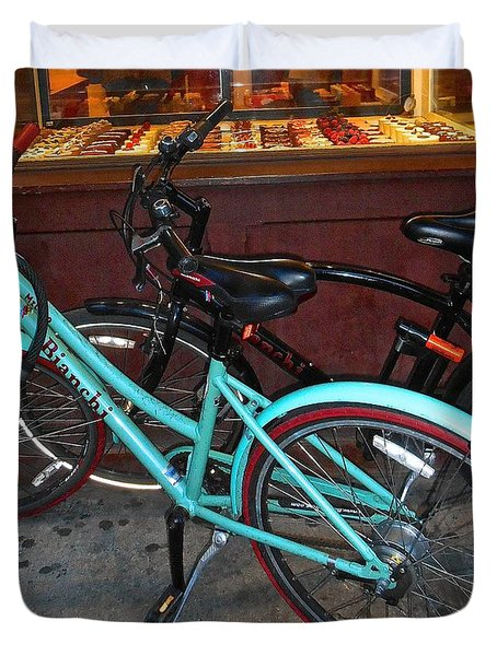 Duvet Cover featuring the photograph Blue Bianchi Bike by Joan Reese
