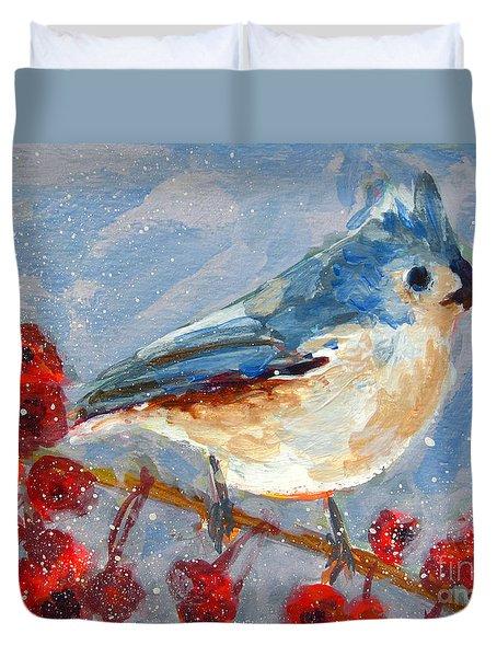 Blue Bird In Winter - Tuft Titmouse Modern Impressionist Art Duvet Cover