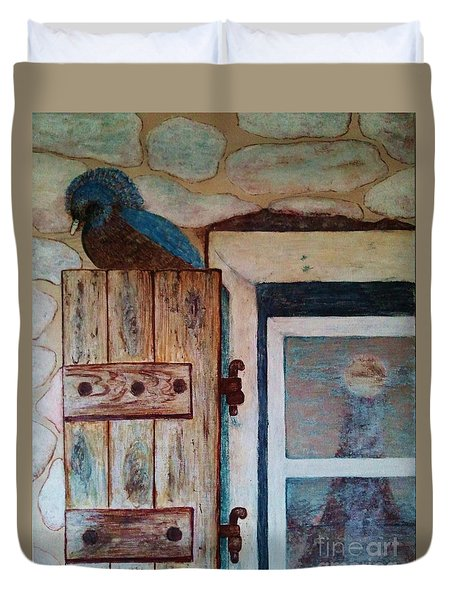Duvet Cover featuring the painting Blue Bird by Jasna Gopic