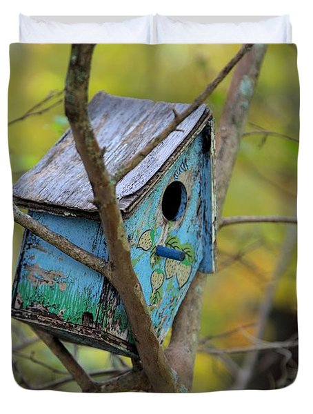 Duvet Cover featuring the photograph Blue Birdhouse by Gordon Elwell