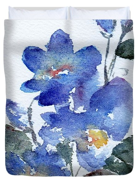 Duvet Cover featuring the painting Blue Blooms by Anne Duke