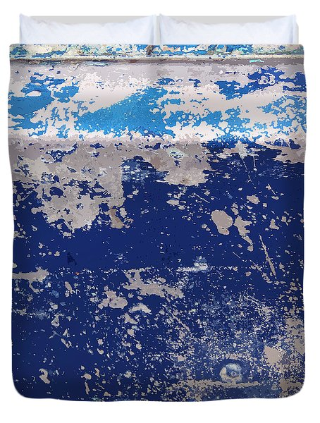 Duvet Cover featuring the photograph Blue Boat Abstract by Art Block Collections