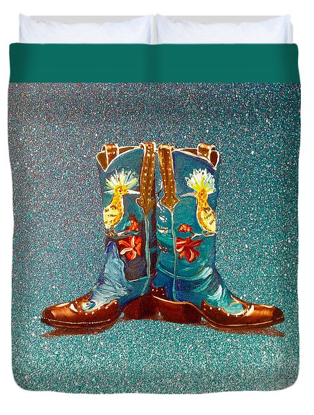 Blue Boots Duvet Cover