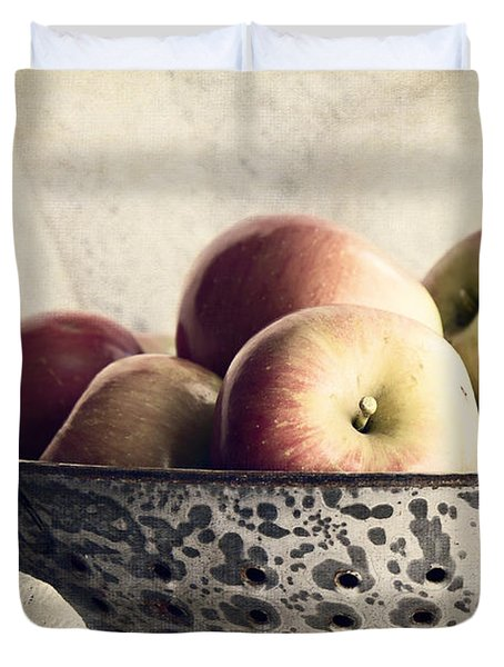 Blue Bowl Of Apples Duvet Cover