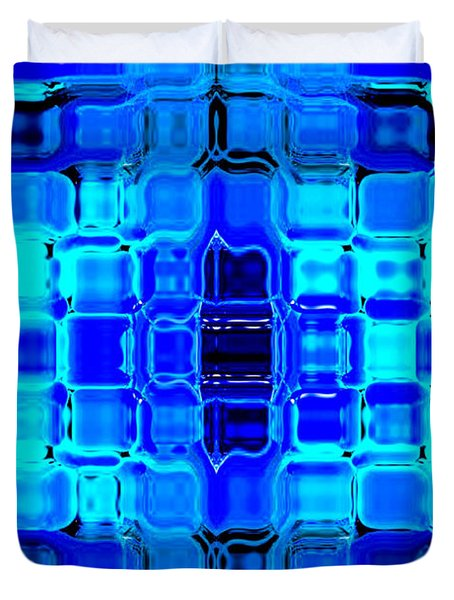 Duvet Cover featuring the digital art Blue Bubble Glass by Anita Lewis