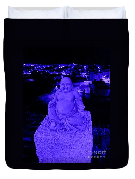 Blue Buddha And The Blue City Duvet Cover