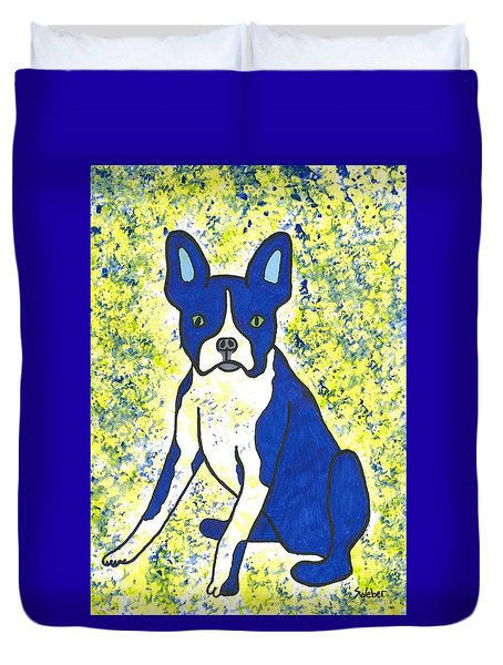 Blue Bulldog Duvet Cover