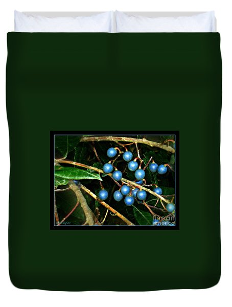 Duvet Cover featuring the photograph Blue Bush Berries  by Leanne Seymour