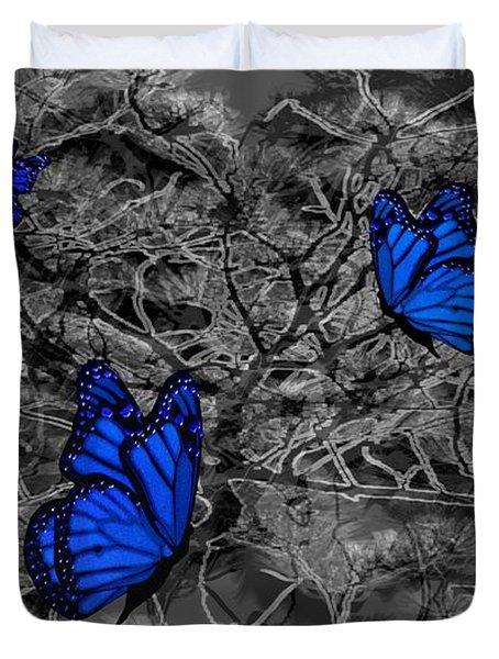 Blue Butterflies 2 Duvet Cover by Barbara St Jean