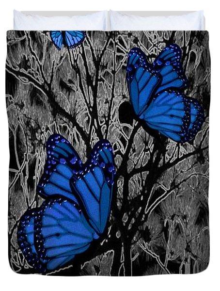 Blue Butterflies Duvet Cover by Barbara St Jean