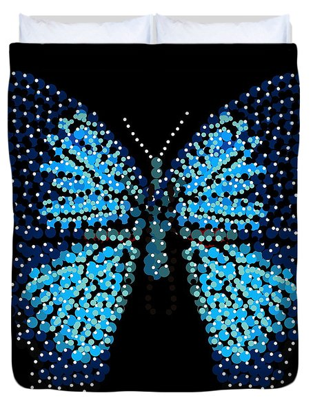Blue Butterfly Black Background Duvet Cover