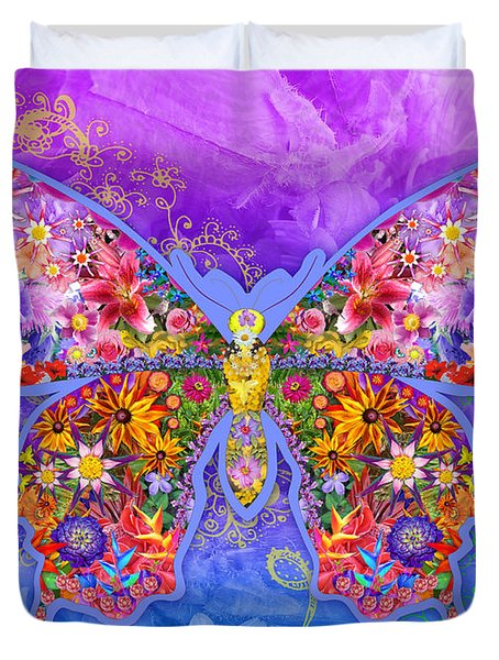 Blue Butterfly Floral Duvet Cover by Alixandra Mullins