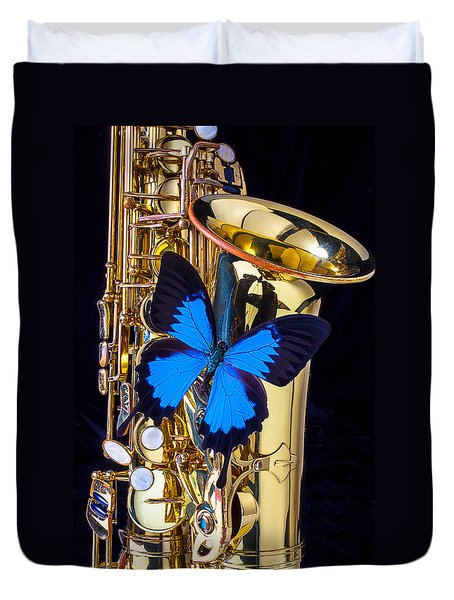 Blue Butterfly On Sax Duvet Cover by Garry Gay
