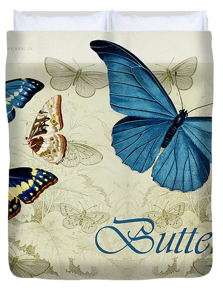 Blue Butterfly - S01a Duvet Cover by Variance Collections