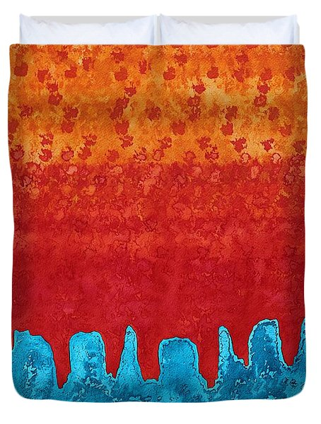 Blue Canyon Original Painting Duvet Cover by Sol Luckman