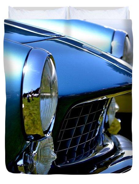 Duvet Cover featuring the photograph Blue Car by Dean Ferreira