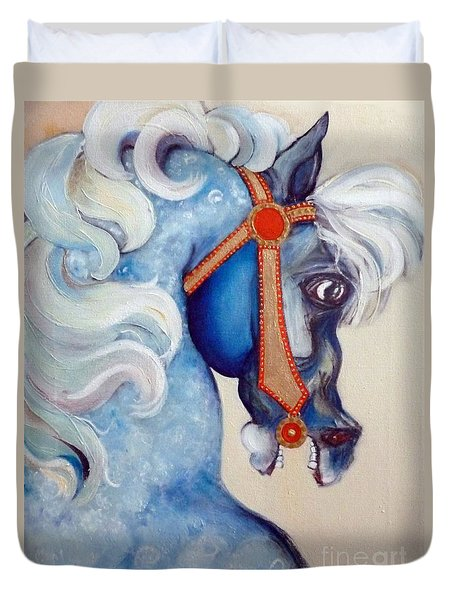 Duvet Cover featuring the painting Blue Carousel by Carolyn Weltman
