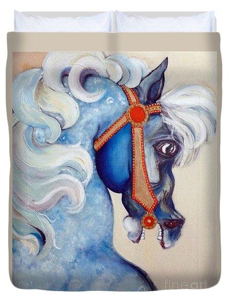 Blue Carousel Duvet Cover