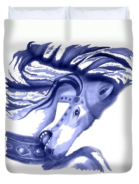 Blue Carrousel Horse Duvet Cover