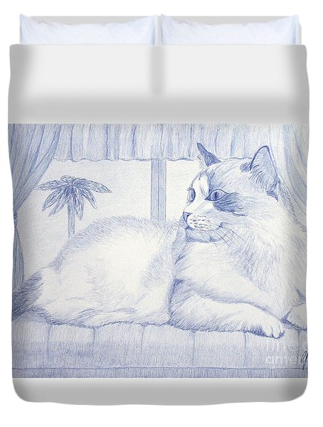 Blue Cat Duvet Cover by Cybele Chaves