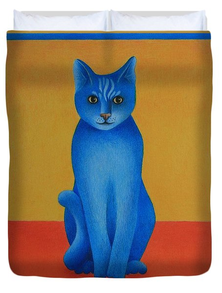 Duvet Cover featuring the painting Blue Cat by Pamela Clements