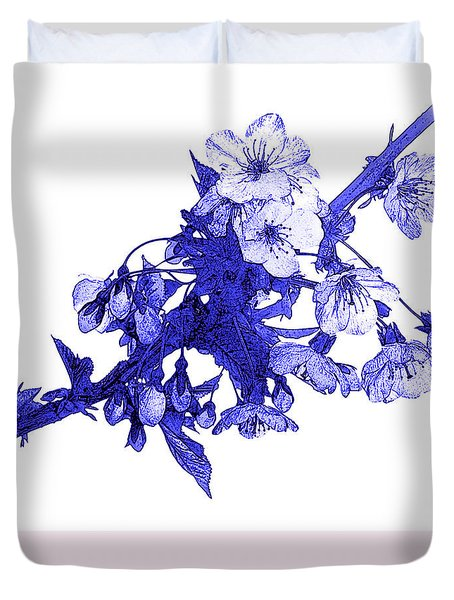 Duvet Cover featuring the photograph Blue Cherry by Jane McIlroy