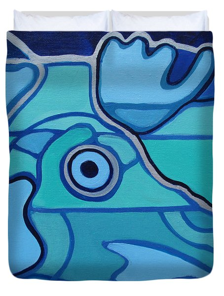 Blue Chicken Abstract Duvet Cover