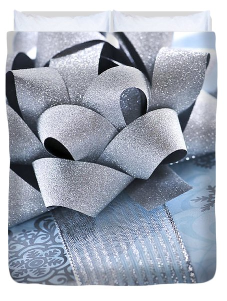 Blue Christmas Gift Duvet Cover