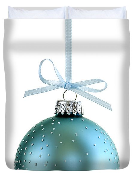 Blue Christmas Ornament Duvet Cover by Elena Elisseeva