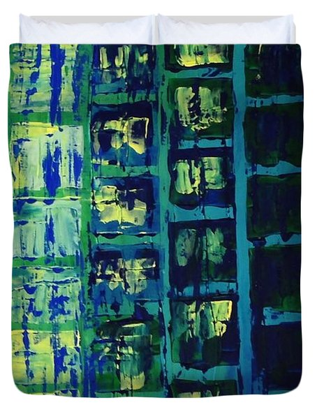 Duvet Cover featuring the painting Blue City 2 by Linda Bailey
