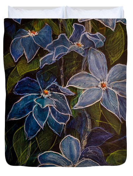 Blue Clematis At Twilight Duvet Cover