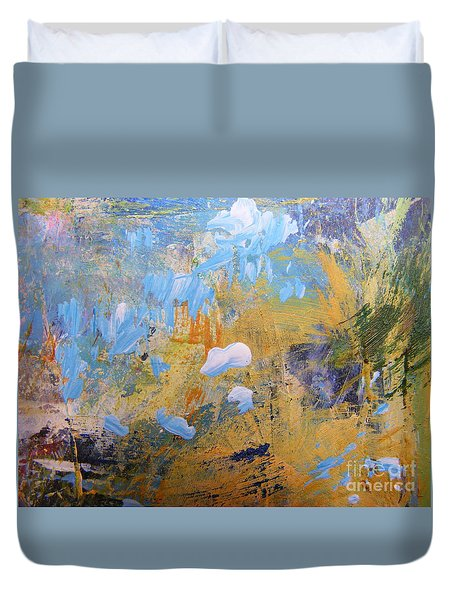 Duvet Cover featuring the painting Blue Cloud 2 by Nancy Kane Chapman
