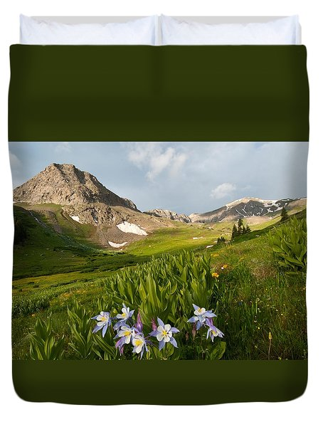 Duvet Cover featuring the photograph Handie's Peak And Blue Columbine On A Summer Morning by Cascade Colors