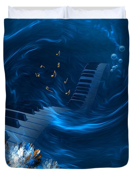Duvet Cover featuring the digital art Blue Coral Melody - Fantasy Art By Giada Rossi by Giada Rossi