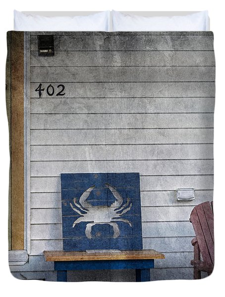 Blue Crab Chair Duvet Cover