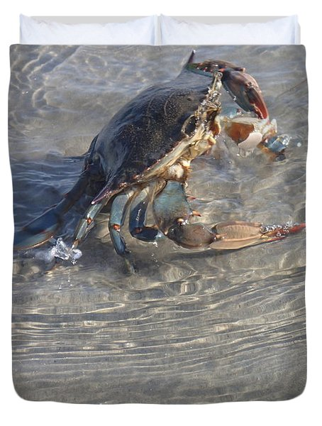 Duvet Cover featuring the photograph Blue Crab Chillin by Robert Nickologianis