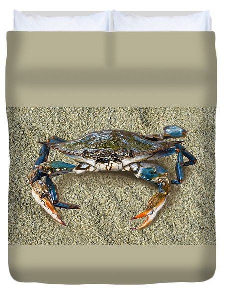 Blue Crab Confrontation Duvet Cover by Sandi OReilly