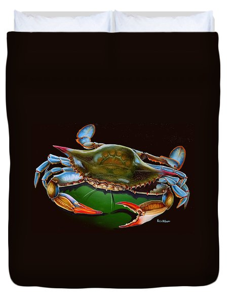 Blue Crab Open Claw Duvet Cover by Phyllis Beiser