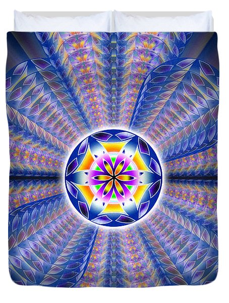 Duvet Cover featuring the drawing Blue Crystal Consciousness by Derek Gedney